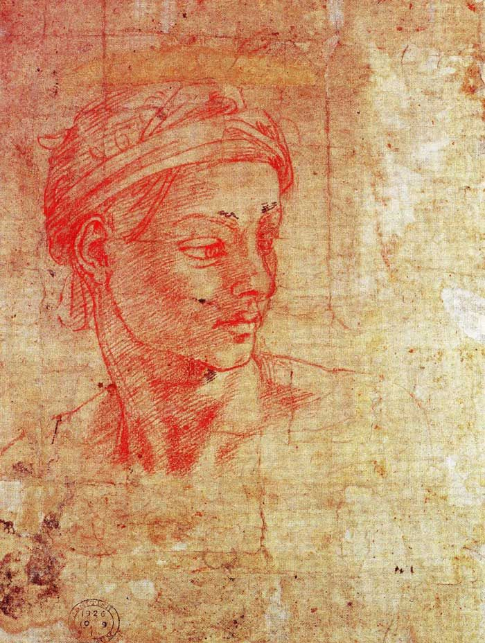 Michelangelo (1475-1564) ~ Red chalk head ~ ca.1511 ~ British Museum, London. This beautifully drawn study of a head is possibly a preparatory Michelangelo drawing for one of the many ignudi on the Sistine Chapel ceiling.  AT