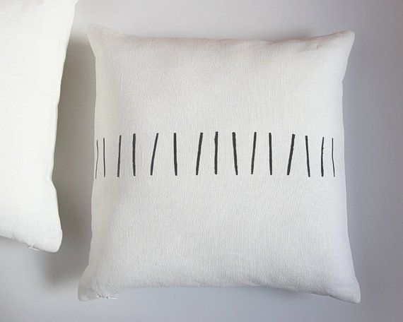 Black And White Linen Pillow Cover Scandinavian Modern