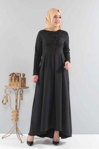 323390b44c0b0 Önü Boncuk Detaylı Elbise MR5141 Siyah MR5141 Siyah | Tesettür ...