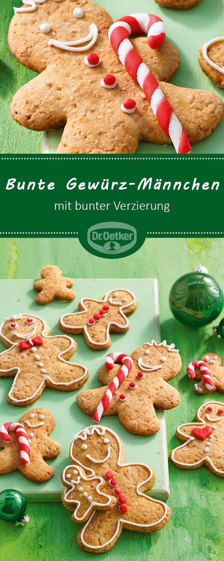 Bunte Gewürz-Männchen: Ginger-Bread-Men-Kekse mit bunter Verzierung