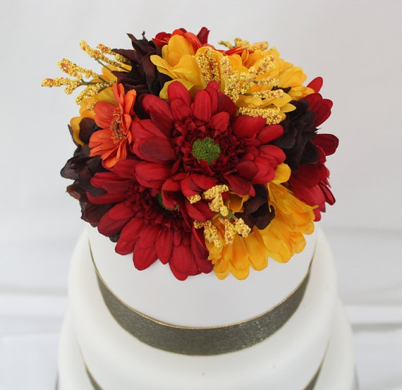 16 best silk flower cake topper ideas images on pinterest wedding cake topper fall red gerbera daisy silk by ittopsthecake 4000 junglespirit Gallery