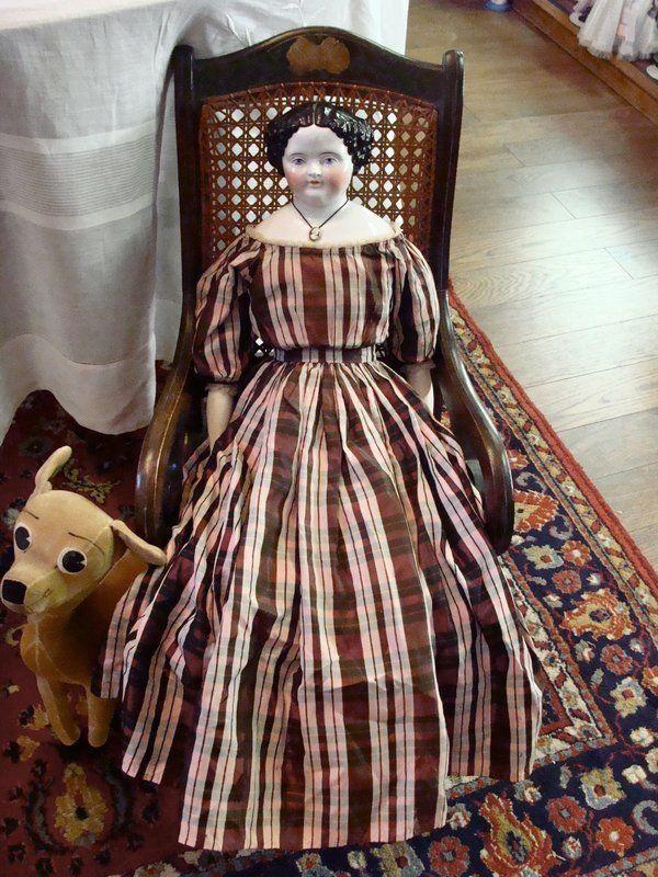Large Flat Top China Head Doll - Bayberry's Antique Dolls #dollshopsunited