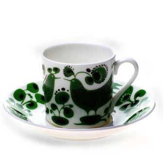 Turtur by Stig Lindberg - green birds mug cup ceramic