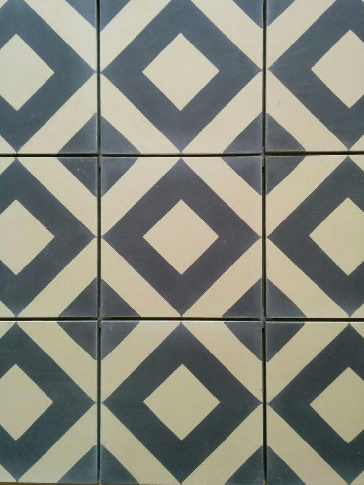 My new bathroom floor! Fired Earth Grau encaustic tiles in blue. I it!