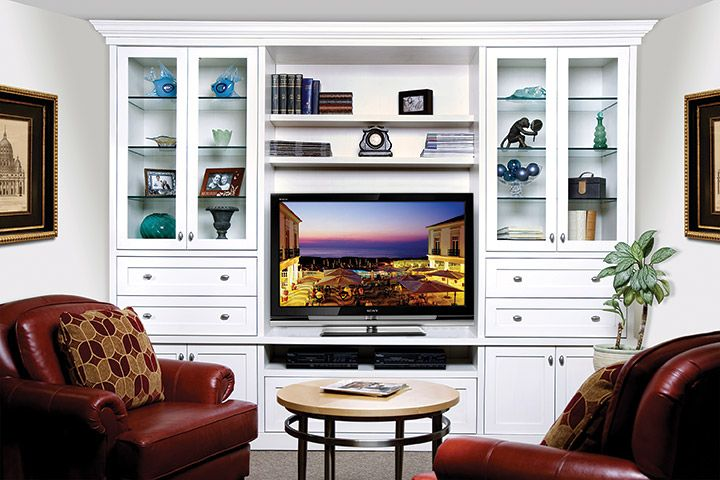 For a slightly more traditional look, opt for white doors with a raised panel, but if you prefer to make a media centre look slightly more contemporary, use a shake door or even a flat panel door. White is always good to keep a room light and bright.