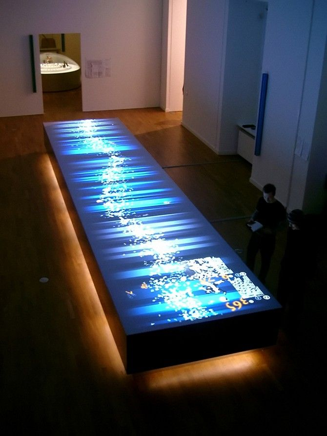 floating.numbers is a 9 x 2 metre interactive table on which a continuous stream of numbers is floating. Individual digits appear randomly at the surface and, once touched by a visitor, reveal their meaning in text, pictures, animation and small interactive applications. The significance of the numbers materialises from the various perspectives of sociology, religion, history, mathematics, art or one's outlook on everyday life.