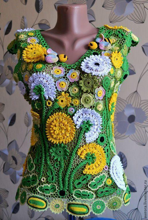"""Купить Блузка """"Одуванчики"""" - ирландское кружево, Вязание крючком, цветочный, авторская ручная работа"""
