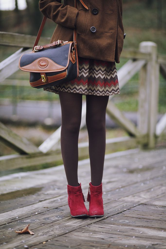 Pea coat, wool skirt, tights, red boots