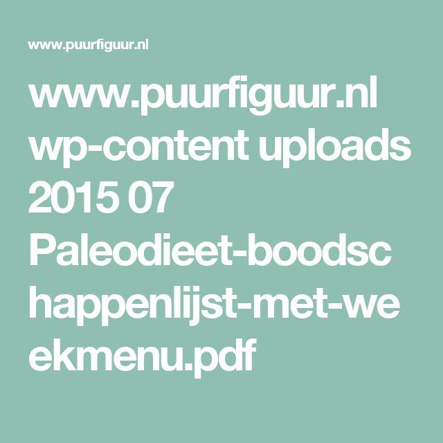 www.puurfiguur.nl wp-content uploads 2015 07 Paleodieet-boodschappenlijst-met-weekmenu.pdf