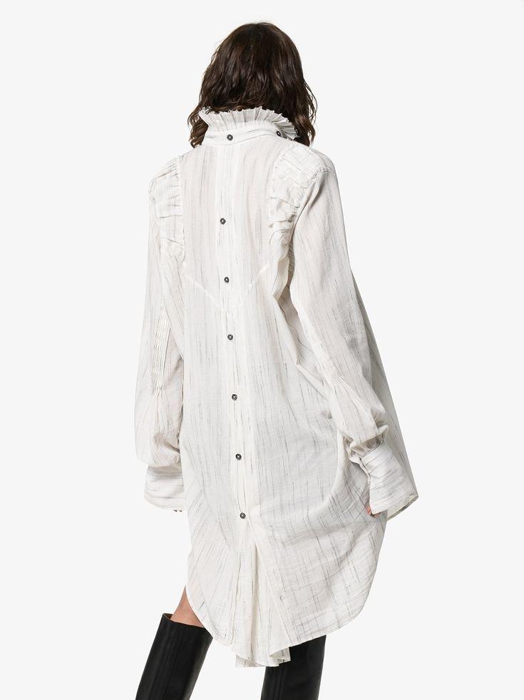 Ruff neck button down long back shirt