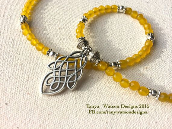 Yellow  jade thin  necklace with a lovely by TanyaWatsonDesigns