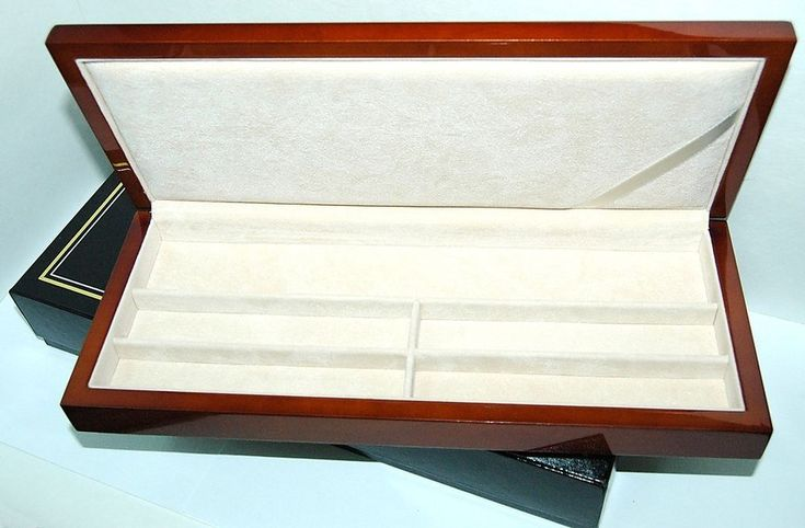 """Long Cherry  Lacquered WOOD Watch - Jewelry BOX 4-7/8"""" D X 11-5/8"""" W X 1-3/8"""" H #Unbranded"""