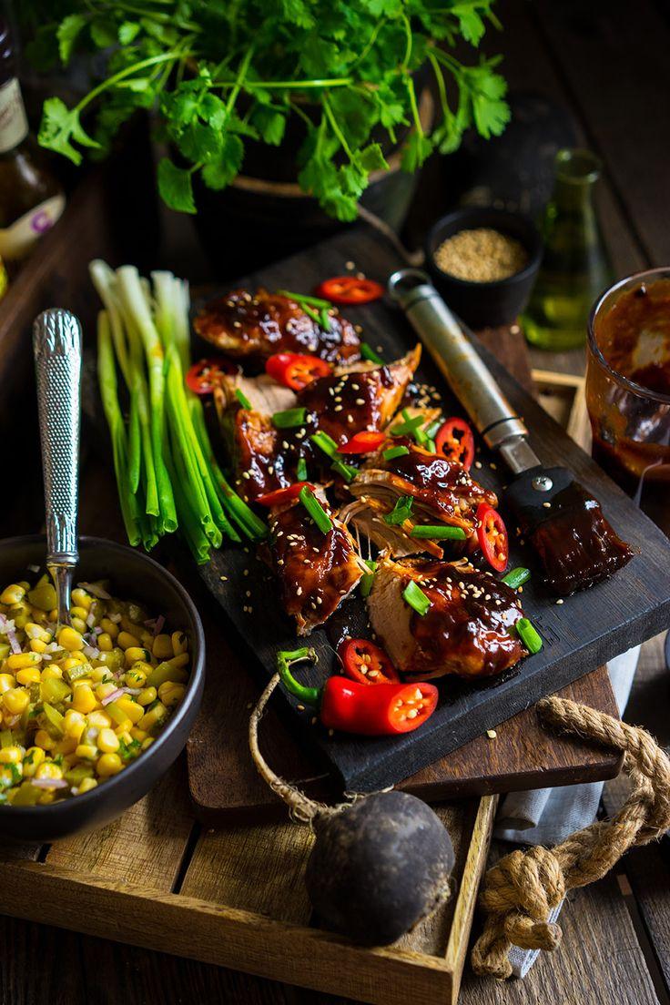 Глазированная свинина с кукурузным салатом