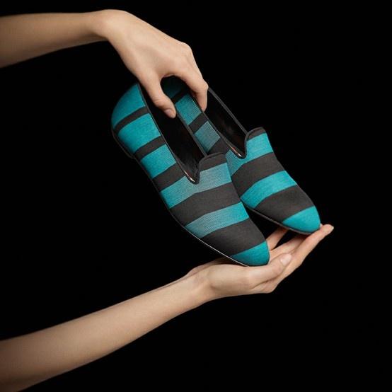 Women's teal striped fabric 'Baldwin' slip-on loafers