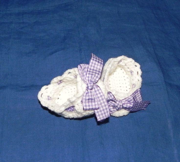 Scarpette bianche  NEONATO con nastrino di cotone a quadretti