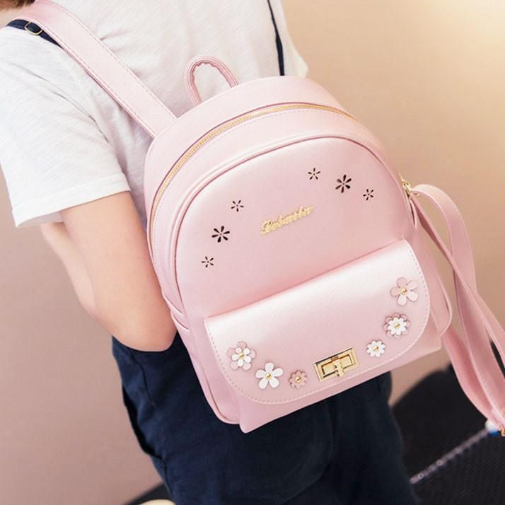 Sweet Pink School Rucksack Hollow Flowers Lady Backpack