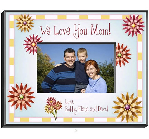 Flowers Picture Frame- You can personalize the top and bottom line! #gifts #mom #frame