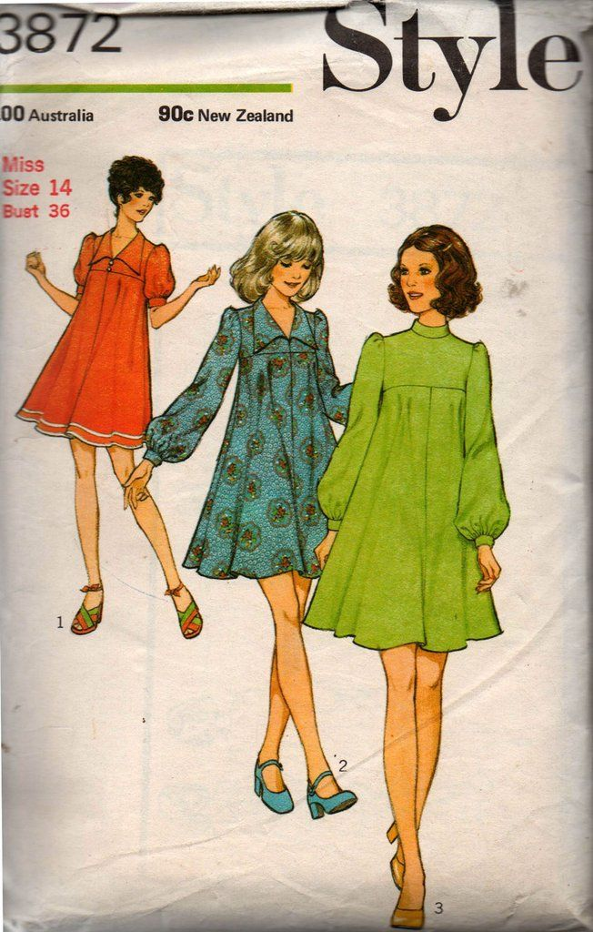 1970s Style 3872 Mini Tent Dress Vintage Sewing Pattern Size 14 Bust 36 inches UNCUT