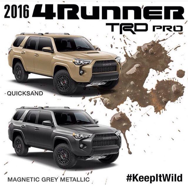 2016 Toyota 4Runner TRD Pro new colors - quicksand & magnetic gray metallic