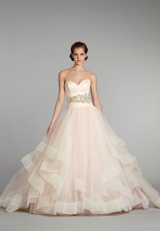 pink. Sherbert tulle bridal ballgown by Lazaro why wasn't this around when I got married.......I want a do over.