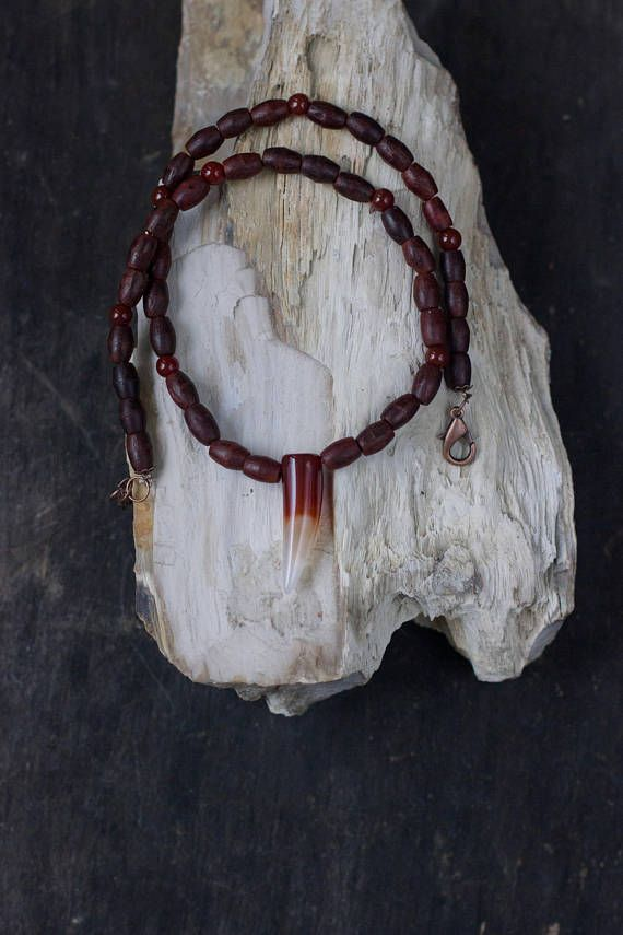 Tusk Necklace Red Agate Choker Mens Wooden Necklace Male
