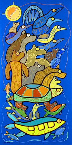 Roy Thomas Spirit of Anishinaabe -- quote from this site: It is not how I paint, it is what I paint that's important. Painting experience than knowledge is easier. The spirit of art teaches me that the paint brush comes from the hair of an animal and the handle of the paintbrush comes from the tree. I would like to acknowledge my relatives for their wisdom of invention of the art material. Being an artist completes my purpose in life. I am forever grateful.