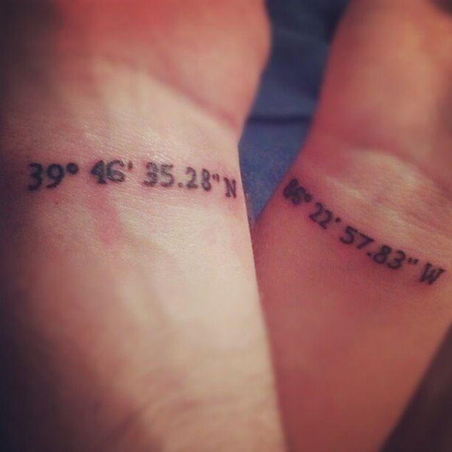 Modèle de tatouage coordonnées gps sur le poignet en commu, https://tattoo.egrafla.fr/2016/02/22/modele-tatouage-couple-identique/