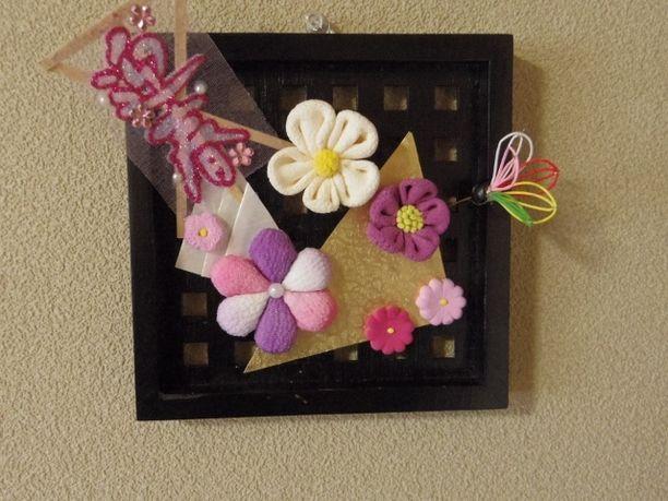 お正月飾り♪ちりめん風 和風のお花の壁掛け 2