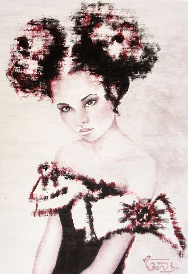 """Hopelessly Waiting"" by Banu B. This beautiful fashion portrait painting comes from Banu B's collection on FineArtSeen. Click to view more art at great prices from the Home Of Original Art. << Pin For Later >>"