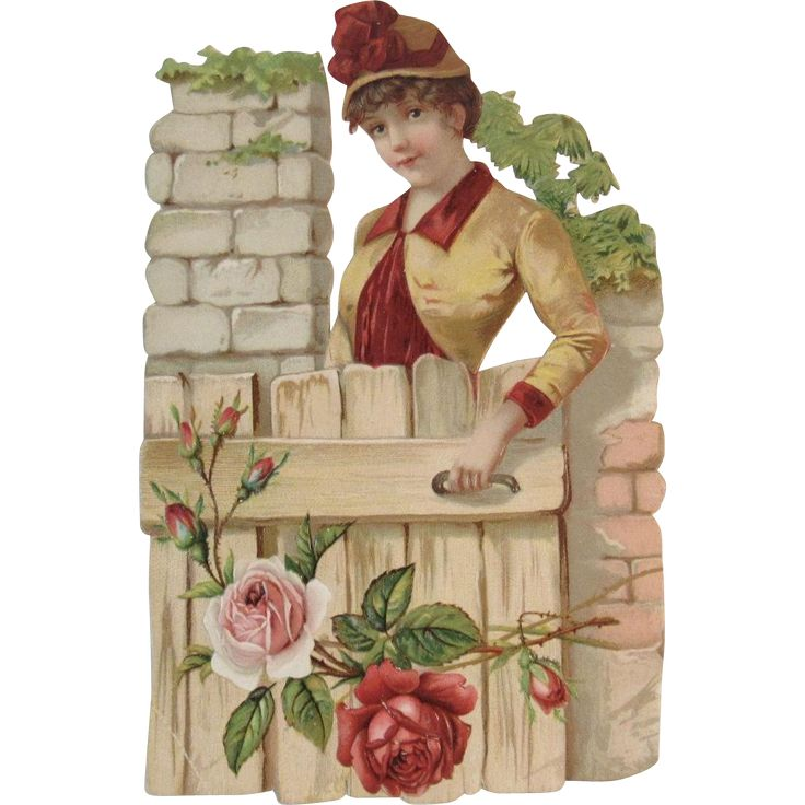 Large Victorian Die Cut Trade Card for Philadelphia Shore Store  Lady at Garden Gate with Pink Roses