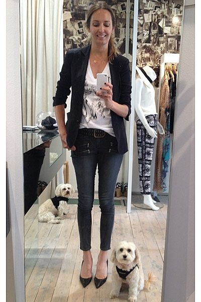"""""""My little guys posing up a storm in their Legitimutt by Kristy Hinze leather collars and Puppia Sport harnesses! Wearing black silk blazer Little Joe Woman, cow skull print tee, Ella Po gold & diamond necklace, Paige jeans and Louboutin heels."""""""