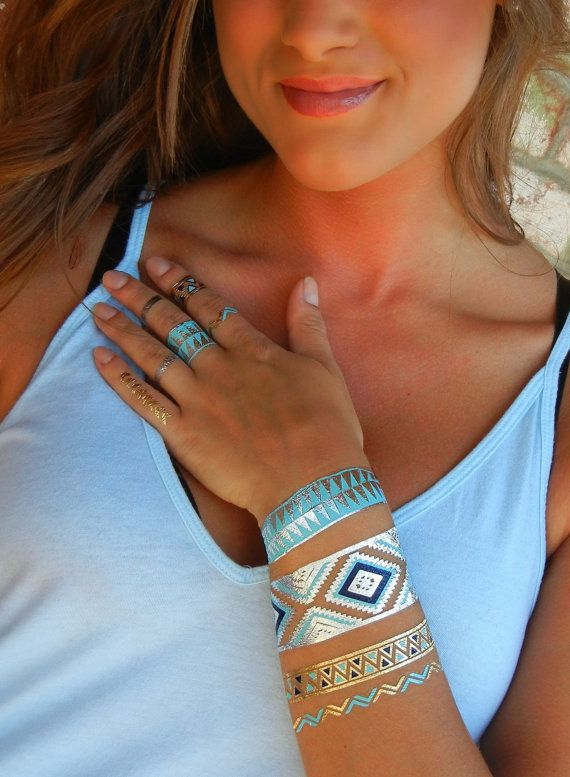 Metallic Tattoo Bracelet Metallic Temporary Tattoo by ShimmerTatts. Click & see! Coupon code PIN10 saves you 10% right now!