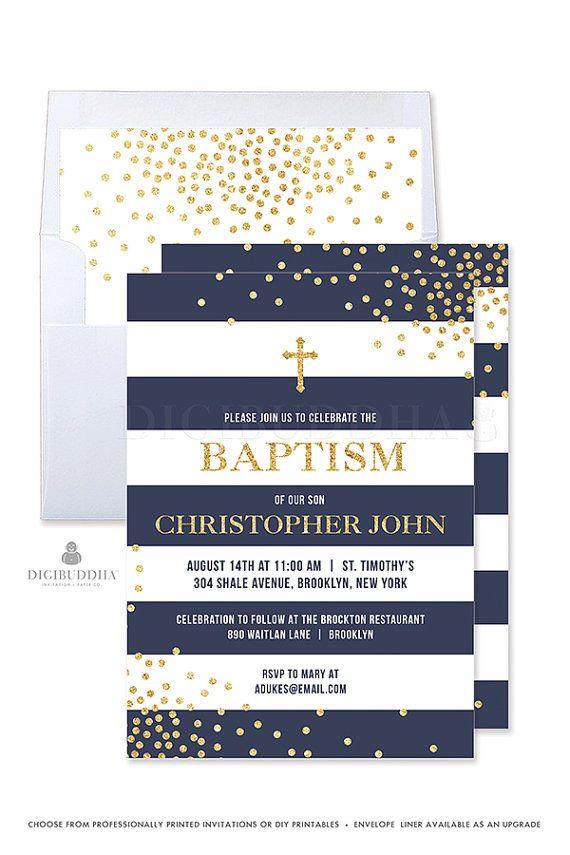 Boy Baptism Invitation Navy and Gold Baptism Invite Stripe Boy Christening Invitation Printed Baptism Party Invitations Printable - Krissy style by Digibuddha