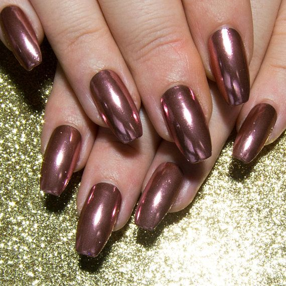 Rose Gold Nails  Chrome Artificial Nails  Coffin False Nails