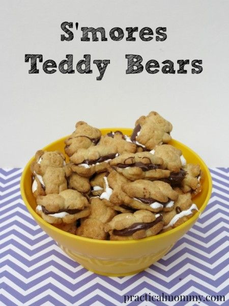 This recipe for S'mores Teddy Bears has only 3 ingredients and it is so easy to make - Teddy Grahams, Marshmallow Creme and melted chocolate chips. They make the perfect s'mores bite for kids in preschool to adults.