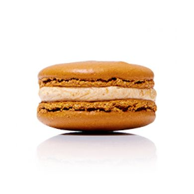 Salted Butter Caramel Macaron. A rich, luxe, and golden salted caramel folded through a smooth buttercream