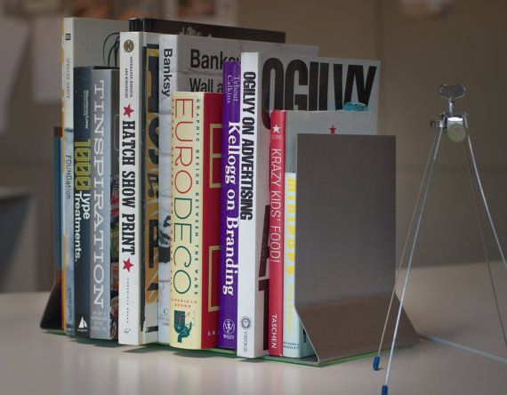 Steel Bookends: Industrial-Modern Bookends Set of 2 by Wenbourn   A simple, modern bookend design, to add some sophistication to your desk or bookshelf.