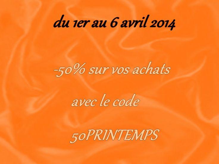 du  1er au 6 avril 2014 -50% sur tout le site (sauf les créations personnalisées et les formules coaching et coup de pouce) Sans minimum d'achat www.promo-mariage-decor.com