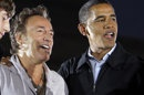 FILE - This Nov. 2, 2008 file photo shows musician Bruce Springsteen, left, with then Democratic presidential candidate Sen. Barack Obama, D-Ill., at a rally at the Cleveland Mall in Cleveland, Ohio. Springsteen posted a message on his website Wednesday, Oct. 17, 2012, endorsing Obama's re-election. Springsteen is making his debut Thursday on the 2012 campaign trail with Bill Clinton at events in Cleveland and Ames, Iowa. (AP Photo/Alex Brandon, file)