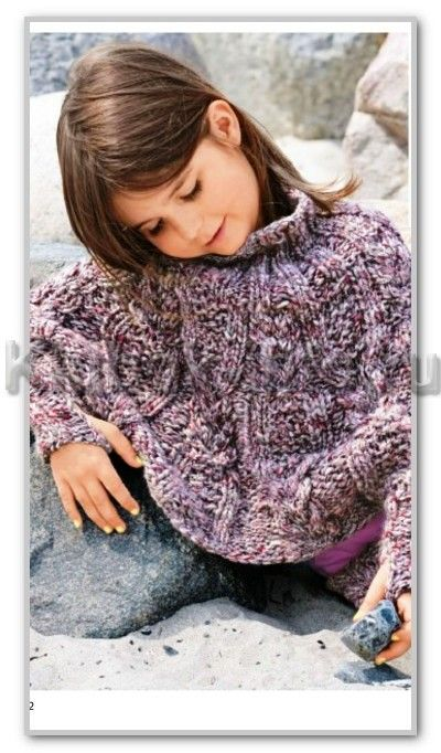Pletenie.  Melange kit s vrkôčiky pre dievčatá: pončo s rukávmi a sukne.  Vek: 4/5 (6/7) 8/9 rokov