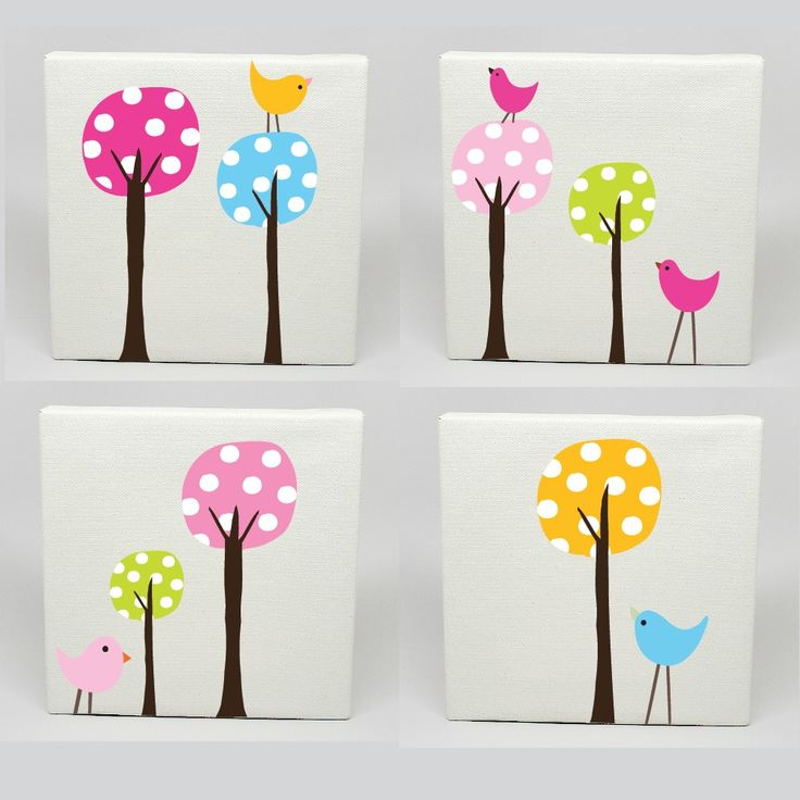 Kids Canvas Art Set of 4 Polka Dot Tree Birds Nursery Childrens Wall Prints. $89.99, via Etsy.