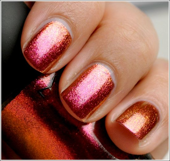 I love the ombre, changing color of this polish. Mac Bad Fairy Nail Lacquer
