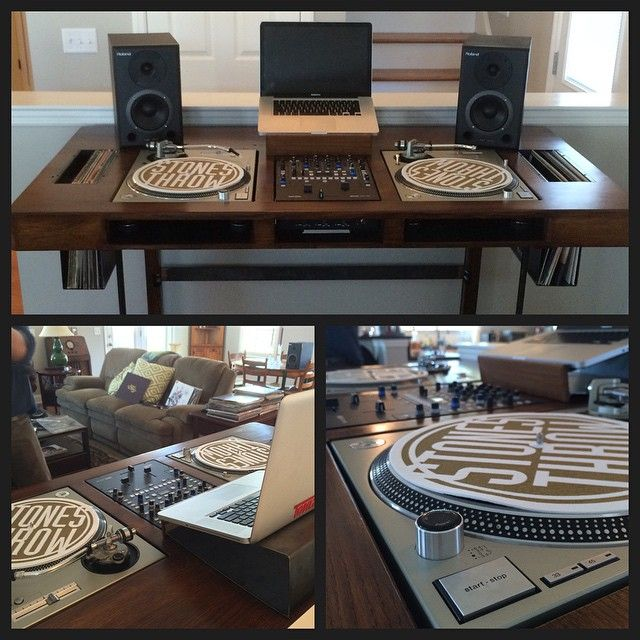 This table is amazing! Thanks to @phompson & @chrissarine for building and designing this DJ table for me! #theresidentdj #technic1200 #rane #ranedj #toneharm #dj #turntablist #grippinthegrain