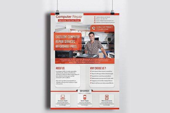 Computer Repair Service Flyer Templa by Creative Designer on @creativemarket