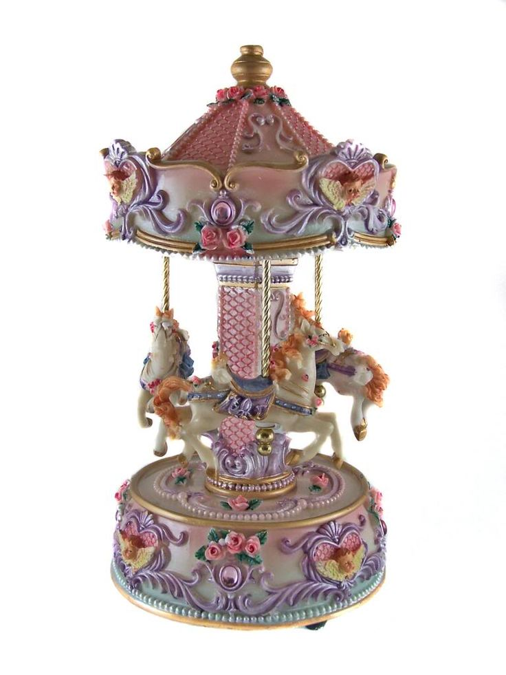 "Carousel Music Box | ... Windup - HORSE MUSICAL CAROUSEL MUSIC BOX - 10"" Tall - Ornament New"