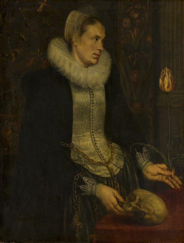 Detailgegevens: Anoniem (Zuidelijke Nederlanden), Portret van een dame, c. 1615, Techniek olieverf Materiaal doek Afmetingen hoogte: 112,3 cm  breedte: 94 cm,  Mauritshuis