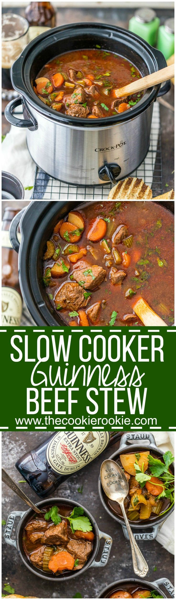 Slow Cooker Guinness Beef Stew is a favorite Irish recipe! We make this crockpot beef soup for St. Patrick's Day and can't get enough! The perfect slow cooker comfort food recipe for st patricks day!