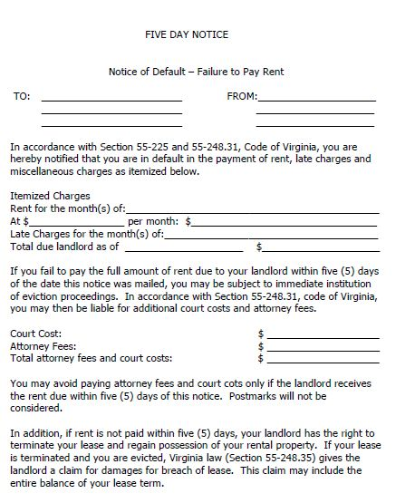 Printable Sample 30 Day Eviction Notice Form