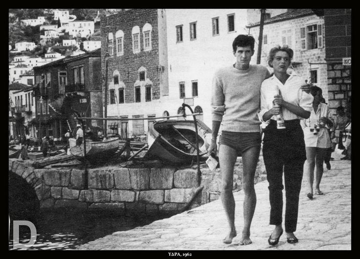 """1962 ~ Melina Mercouri and Anthony Perkins in Hydra island during the filming of """"Phaedra"""""""
