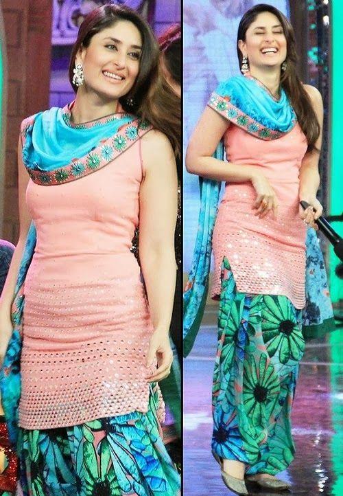 Kareena Kapoor in Patiala Suit by @NishkaLulla http://nisshk.com/ Soft Pink sleeveless Kameez w/ round hemline's decorated w/ silver kora + mokesh embellishments, paired w/ printed Patiala Salwar, contrasting Dupatta w/ colors from both